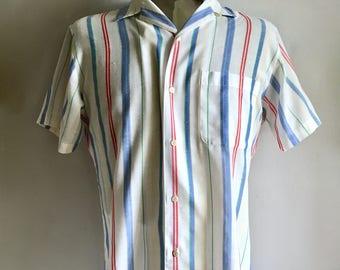 Vintage Men's 80's Striped Shirt, Button Down, Short Sleeve (M)