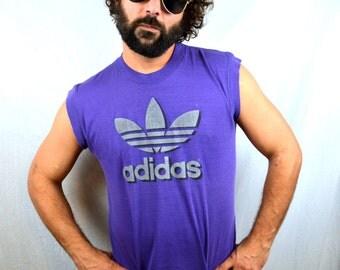 Vintage 80s 1980s Purple Adidas Muscle Tee Shirt Tshirt