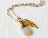 Pregnancy Loss Necklace with October Birthstone Opal / Miscarriage Jewelry / Baby Loss Memorial Gifts / Sympathy Gifts