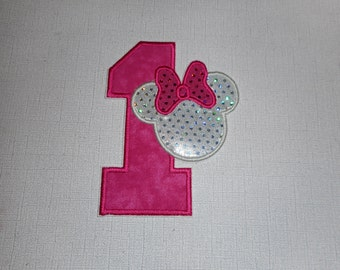 Free Shipping  Ready to Ship Girl number 1 Machine Embroidery iron on applique