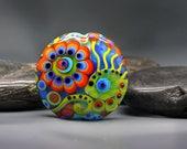 70ies Hipp - 2 side lampwork bead - Modern Glass Art by Michou P. Anderson (Brand/ Label Sonic & Yoko)