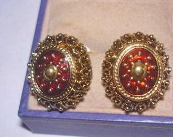 Gold  Red Earrings  .