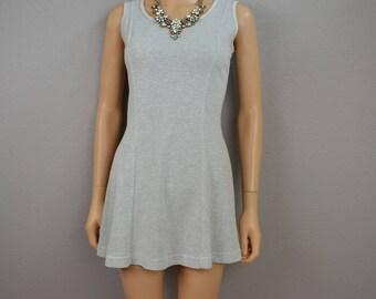 90s Skater Dress Gray and White Mini Dress Short Tank Dress Size Medium Juniors Honeycomb Pattern 90s Clothing Epsteam