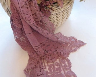 Purple Runner, Needlework Lace, Cutter Fabric, Long Runner, Window Valance, Dresser Scarf,Sewing, by mailordervintage on etsy