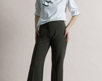 Vintage 90s Olive Cropped Stretch Trousers / Flared Pants 8/10
