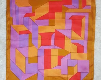 WOW! Bold Vintage 70s Orange, Purple and Pink-Red Geometric Op Art Scarf