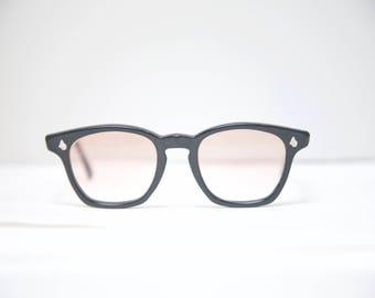 American Optical // 50s 60s Black Eyeglass Frames // Mad Men Glasses // Wayfarers // AO /rx lenses