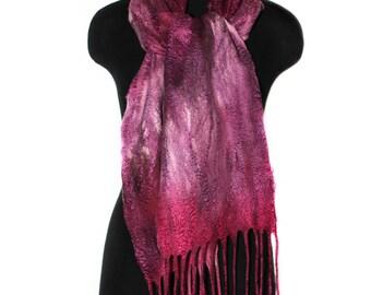 Handmade Felted Scarf Fashion Winter Accessory OOAK Felt Gift Wool Silk Felt Scarf