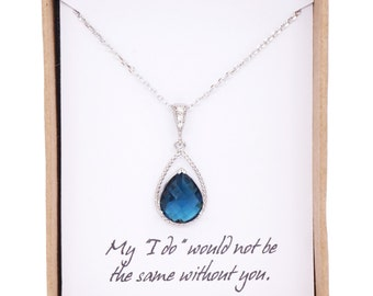 Mabel - Montana Blue Crystal Teardrop Necklace, Cubic Zirconia bail, gifts for her, blue wedding, Bridal Bridesmaid necklaces, Bridesmaids