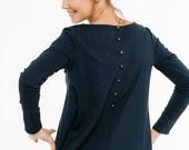 Blue top | Loose blouse | Back button blouse | LeMuse blue top