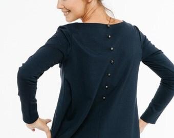 Blue top   Loose blouse   Back button blouse   LeMuse blue top