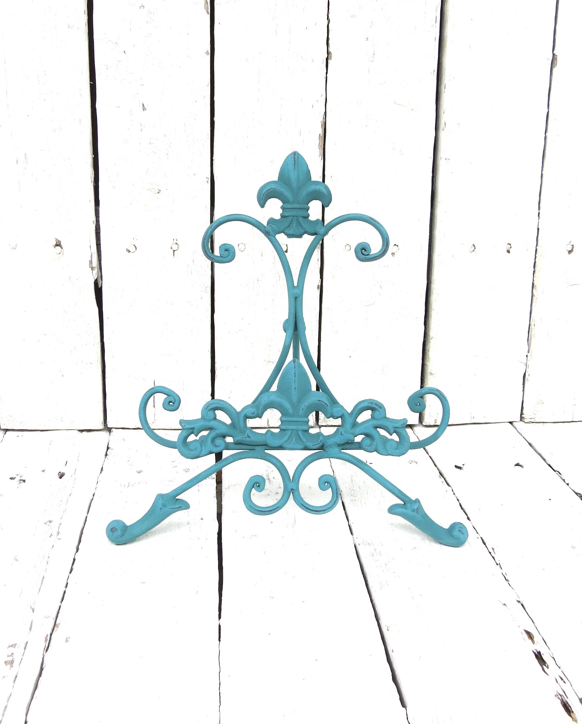 turquoise blue easel metal easel book stand art prop