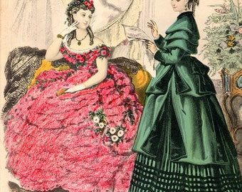 Vintage Set of 3 French Fashion Litho Prints / Girl Dress Lithograph 19th Century Costume Miroir des Modes Women Clothing Paris Lady Boudoir