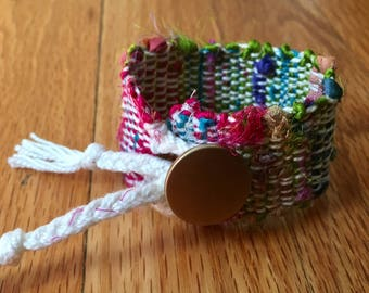 Handwoven Recycled Silk and Cotton Saori Bracelet // multicolor / upcycled / zero waste / sustainable / boho / gift / OOAK