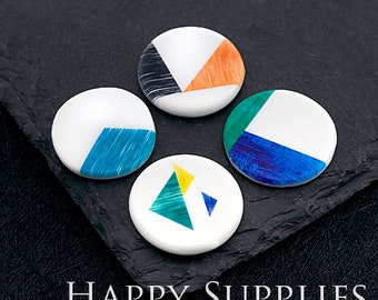 2pcs 25mm Round Handmade Photo Ceramic / Porcelain Pendants / Charms (CPA29-32) - High Quality No Scratch Guarantee