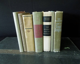 Book Collection - Vintage Books by Color - Old Book Stack Beige Buff Khaki Wheat - Books For Decor