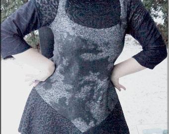 Dress - Steampunk - Burning Man - Bohemian - Playa Wear - Pixie Fashion - Black and Silver - Gypsy Boheme - Sexy - Size Small