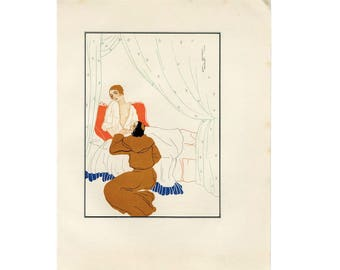 C. 1924 LOVERS - DECAMERON ILLUSTRATION by Zabel lithograph - original vintage print - Boccaccio - love story nude adult theme in deco style