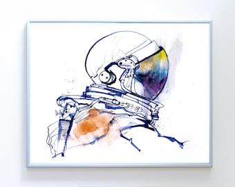 14 x 11 inch Space Shuttle Astronaut art, Science Poster Art Print, Original Illustration - Stellar Science Series™