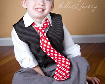 Little and Big Guy HOLIDAY CHRISTMAS Necktie Tie - Red Polka Dot - (All sizes) - Baby Boy Toddler