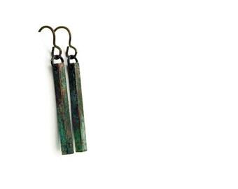 Patina Bar Earrings / Verdigris Patina / Stick Earrings / Square Bar Earrings / Verdigris Jewelry / Brass Bar Earrings