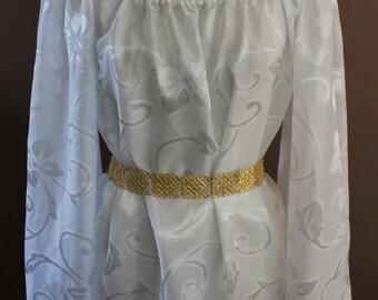 White Sheer Bat Wing Bridal Wedding Chemise  Renaissance Costume Dress Chemise Medieval Peasant Shirt