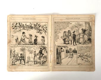 1800's antique book pages ephemera - Blackberry Picking illustrations The Childs Companion