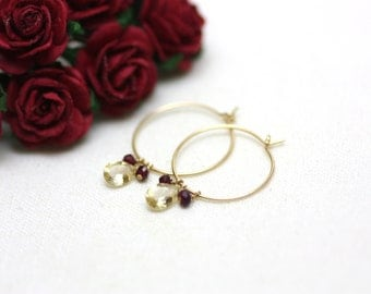 Gold Hoop Earrings with Citrine and Garnet Gemstones | Minimal, Feminine, Bridal Jewelry | Gift for Woman | Bridesmaid Gift | Made by Azki