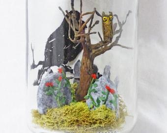 Creepy Miniatures - Miniature Cemetery in Jar - Glass Jar on Pedestal - Gothic Cemetery Diorama