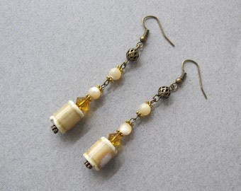 Beige Ceramic and Shell Dangle Earrings