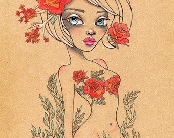 Beautiful Garden Original Art Giclee fine art print 8x10, ink, flowers, roses