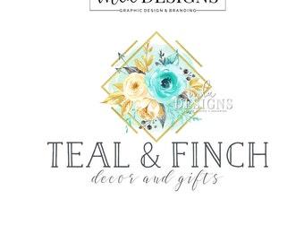 Gold Teal Logo -  Premade Logos, Custom Logo, Watercolor Custom Logo, Teal Logo Design, Floral Logo, Shop Logo, Rustic Logo Design
