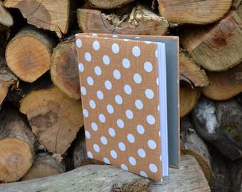 Writing Journal /  Handmade Sketchbook / Handmade Journal / Unique Journal /  Notebook /  Diary /  A5. 8 x 6 inch White polka dots