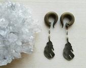 Bronze Feather Drop Gauges Earrings Plugs with Lemon Quartz Stones