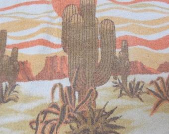 Desert Cactus Motif 70s Bath Towel