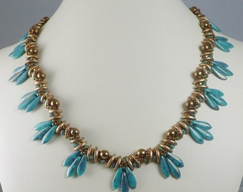 Woven Necklace Turquoise and Bronze