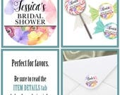 "1.5"" Stickers, Favor Stickers, Labels, Baby Shower, Bridal Shower, Birthday Party, Wedding, Engagement, Watercolor Florals, 30 Stickers"