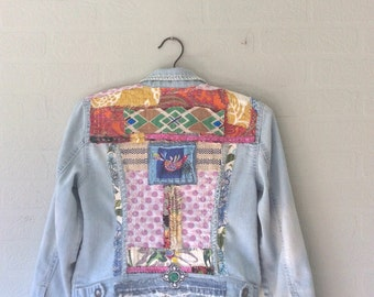 Light Blue Jean Jacket Altered Couture, Upcycled Denim