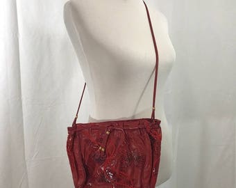Vintage Red Leather Snakeskin Crossbody Clutch or Purse