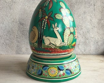 Rare large vintage Tlaquepaque pottery egg on stand with Fantasia design, ceramic Easter egg centerpiece, Mexican folk art burnished pottery