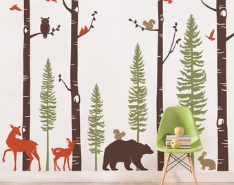 Birch Tree Wall Decal with Animals, Baby Nursery Wall Stickers, Forest Pine Tree and Birch Trees Wall Decal, Deer and Bear Decals