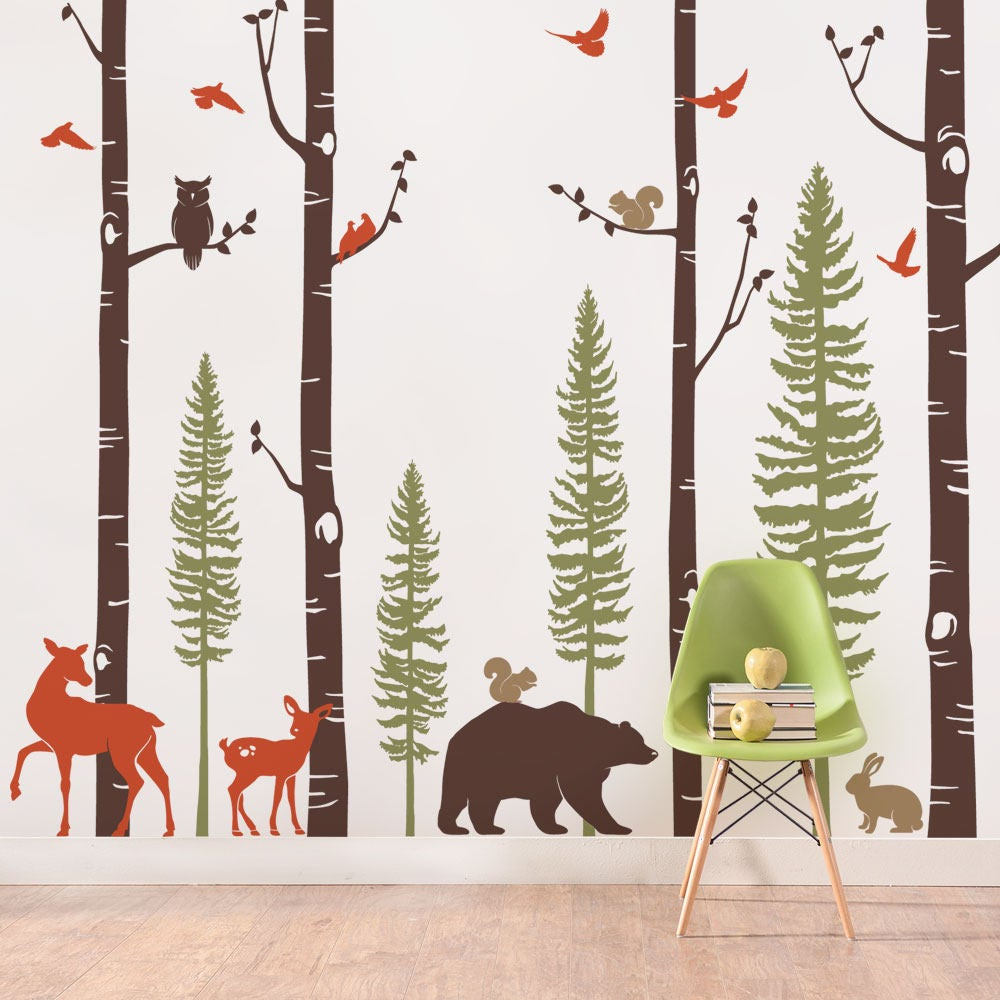 Birch tree wall decal with animals baby nursery wall zoom amipublicfo Choice Image