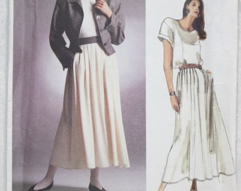 """sz 12 Bust 34"""" Vintage Vogue American Designer Sewing Pattern 1914 by Perry Ellis Jacket Skirt Top 1987"""