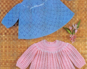 Download PDF - Vintage Knitting Pattern - Angel Tops/Dresses Baby Knit - 18/19 inch chest 4 ply