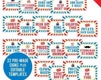 INSTANT DOWNLOAD Carnival or Circus Party Signs - Printable 8x10 Signs, Plus Bonus EDITABLE Signs!
