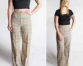 Vintage Plaid High Waisted Wide Leg Pants - Slacks Flare Pant Bell Bottom 60s 70s Woven Trouser Tan Yellow White Gray - Size Small