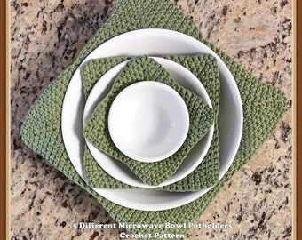 3 Different Microwave Bowl Potholders Crochet Pattern INSTANT DOWNLOAD - PDF