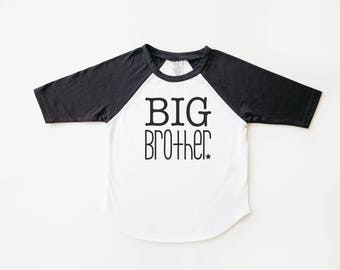 Black and white big brother baseball shirt | big bro shirt | brother shirt | family photos | big brother gift | pregnancy announcement |