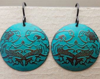 Etched Copper Mermaid and Merman Earrings