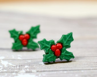 Christmas Holly Earrings, Green and Red Berries, Berry and Leaves, Holiday Jewelry, Good Luck Evergreen Winter Plants